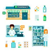 Pharmacy Icon Set Stock Illustration