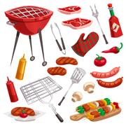 BBQ Grill Elements Set Stock Illustration