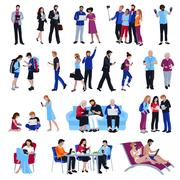 People With Gadgets Stock Illustration