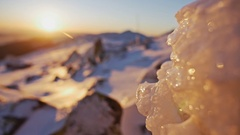 Icy Winter Sunset View Stock Footage