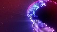 Neon Globe Neon Earth Seamless Loop Motion Background Version 2 Purple Blue Stock Footage