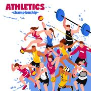 Colorful Sport Isometric Poster Stock Illustration