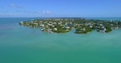 Aerial video waterfront homes in the Keys Stock Footage