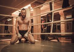 Professional fighter warm-up on training ring Stock Photos
