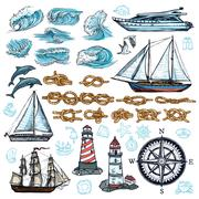 Marine Sketch Set Stock Illustration