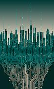 City online. Abstract futuristic digital city, hi-tech information background Piirros