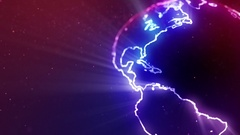 Neon Globe Neon Earth Seamless Loop Motion Background Version 1 Blue Violet Stock Footage