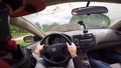 Rally car jumping helmet cam gopro Stock Footage
