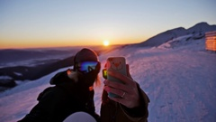 Sunset Selfie Winter People Slowmotion Stock Footage