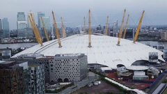 The O2 Arena aerial shot Stock Footage