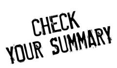 Check Your Summary rubber stamp Stock Illustration