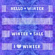 Winter Special banner or label with knitted woolen scarves. Business seasonal Stock Illustration