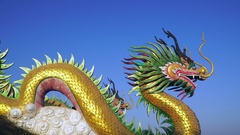 Chinese Dragon with blue sky Stock Footage