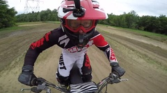 Motocross unique slow motion in whoop section Stock Footage