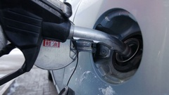Filling car with gas fuel at station pump Stock Footage