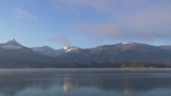 Lake in the mountains in the morning Stock Footage