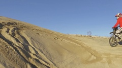 Dirt bike offroad motocross ripping in the sand 4k Stock Footage