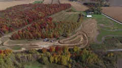 Aerial motocross track view high above 4k Stock Footage