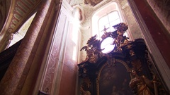 Window of side altar with awesome backlight Stock Footage