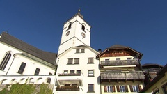 Church in mountain village Stock Footage