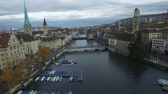 Flying over Limmat river into down town Zurich Stock Footage