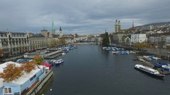 Flying low over Limmat river into Zurich Stock Footage