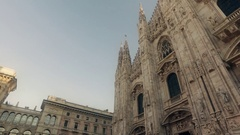 View of Milan Cathedral (Duomo di Milano) and piazza del Duomo in Milan (Italy) Stock Footage