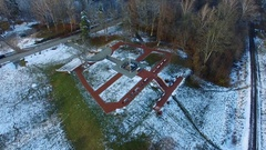 Aerial Orbiting Around Cross Monument In Winter Stock Footage