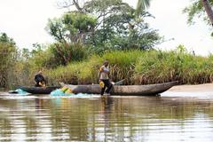 Life in madagascar countryside on river Stock Photos