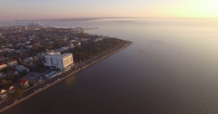 Aerial View of Charleston Battery and Downtown at Sunrise along East Bay Street Stock Footage