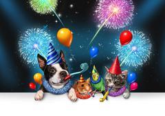 New Year Pet Celebration Stock Illustration