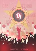 Retro Disco Party Poster Background Template - Vector Illustration Stock Illustration
