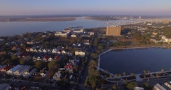 Aerial Flyover of Downtown Charleston SC and Colonial Lake in Early Morning Stock Footage