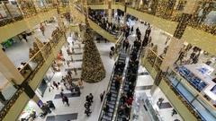People visit mall Galeria Krakowska at Christmas time Stock Footage