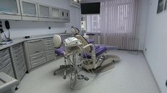 Dental office with equipment in clinic Stock Footage