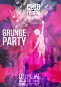 Grunge  Dance party design template - Vector Illustration Stock Illustration