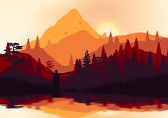 Golden Sunset Panorama of Mountain Ridges and Pine Forest with Lake Reflect.. Stock Illustration
