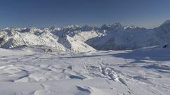 Sporty woman skiing on beautiful ski resort Stock Footage