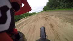 Motocross gopro helmet cam slow motion whoop section Stock Footage