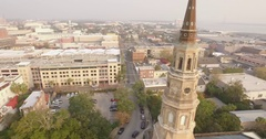 Circular Aerial Shot of St Philips Church in Downtown Charleston, SC Stock Footage
