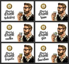 Hipster holding a glasses alcohol drinks and antique pocket watch. Stock Illustration