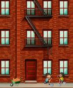 Apartment building scene with boys laying bricks Stock Illustration