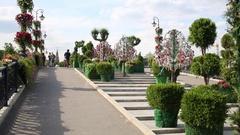 Flowers, shrubs and trees with locks on Tretyakovsky (Luzhkov) bridge Stock Footage