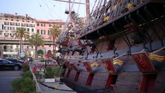 Galleon Neptune. Neptune is a ship replica of a XVII century Spanish galleon Stock Footage