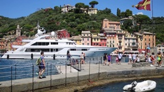 Alalya pleasure yacht in the port of the town. Stock Footage