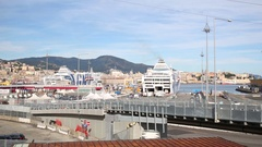 Ships of the company Grandi Navi Veloci in the Genoa port. Stock Footage