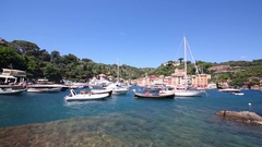 Clear blue water and lots of boats moored at port in Portofino, Italy Stock Footage