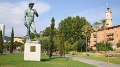 Statue Of David in park at Promenade du Paillon Stock Footage