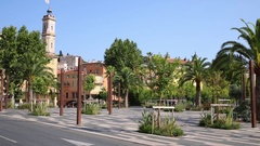 Park Esplanade de la Bourgada and buildings in Nice, France Stock Footage