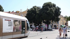Tram crosses the Garibaldi square in the historical centre of the city Stock Footage